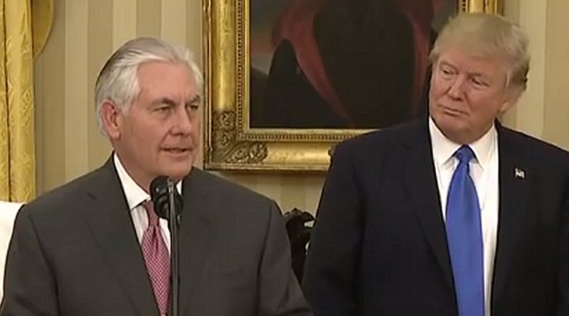 US Secretary of State Rex Tillerson and US President Donald Trump. Source: Screenshot White House video.