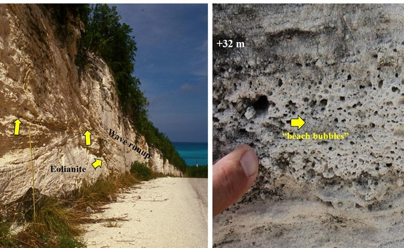 The image on the left shows eolian (lower) and runup bedding (upper) exposed in a roadcut on Old Land Road on Great Exuma Island (road elevation +23 meters). On the right are thick beds with fenestral porosity, or 'beach bubbles,' showing that massive waves ran up over older dunes exposed in a roadcut on Suzy Turn Road along the Atlantic Ocean east side of Providenciales, Turks and Caicos Islands, BWI. Credit Marine Geology