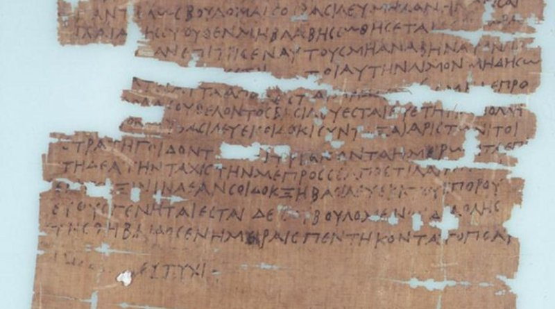 This piece of papyrus from the mid-Third Century BCE describes a period of famine in Egypt that occurred when the Nile River failed to flood for several years in a row. It was collected from the Egyptian city of Edfu. Credit © Department of Papyrology, Institute of Archaeology, University of Warsaw