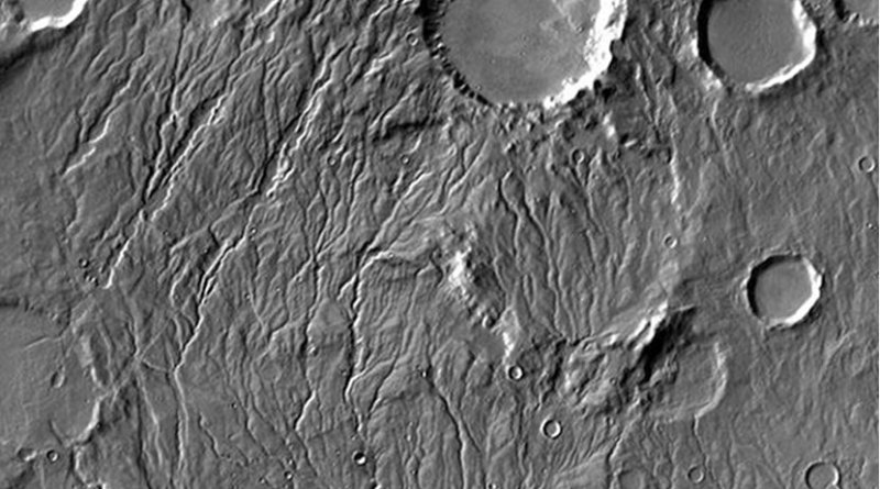 Extensive valley networks spidering through the southern highlands of Mars suggest that the planet was once warmer and wetter, but new research shows that water could still have flowed intermittently on a cold and icy early Mars. Credit NASA/JPL-Caltech/Arizona State University