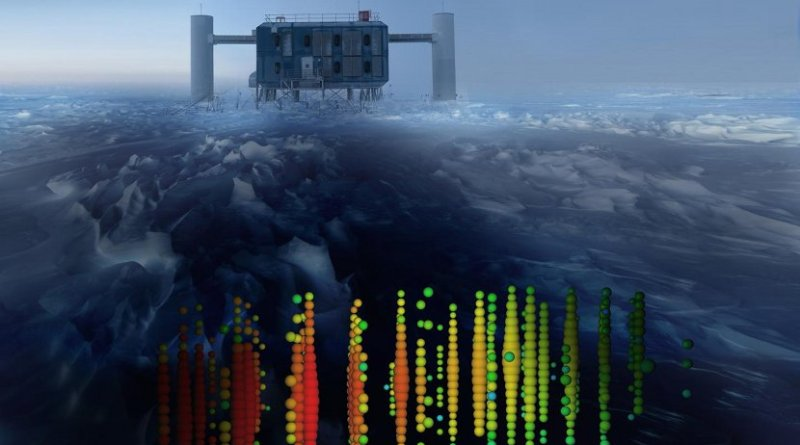 This image shows a visual representation of one of the highest-energy neutrino detections superimposed on a view of the IceCube Lab at the South Pole. Credit IceCube Collaboration
