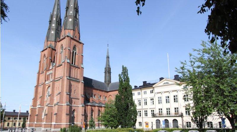 Uppsala Cathedral, Uppsala, Sweden. Photo by Szilas, Wikipedia Commons.