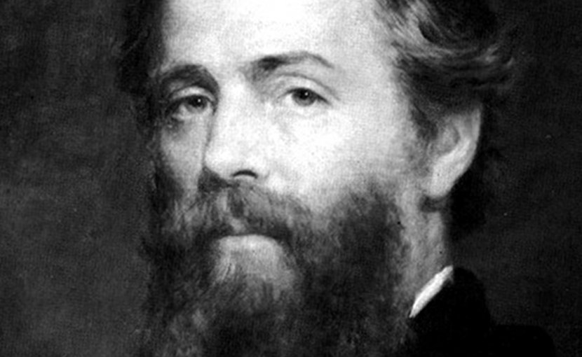 Etching of Joseph O. Eaton's portrait of Herman Melville. Source: Wikipedia Commons.