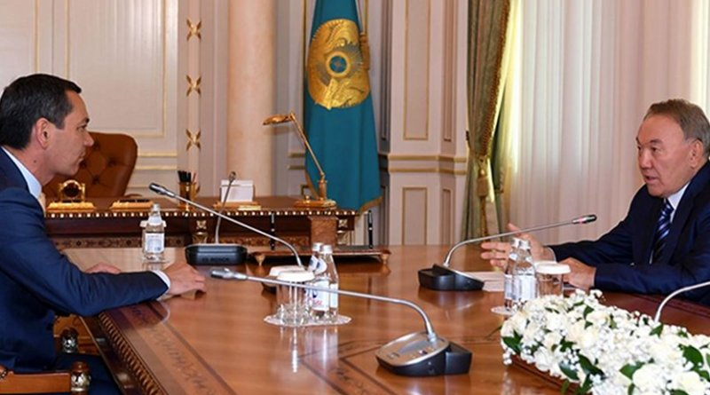 Kazakhstan Nursultan Nazarbayev (right) meeting with Kyrgyz opposition presidential candidate Omurbek Babanov (left) in Almaty in September. Photo Credit: Office of Kazakh Presidency.