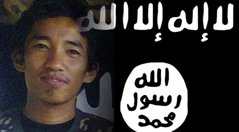 Photo montage of Amin Baco and Islamic State flag.