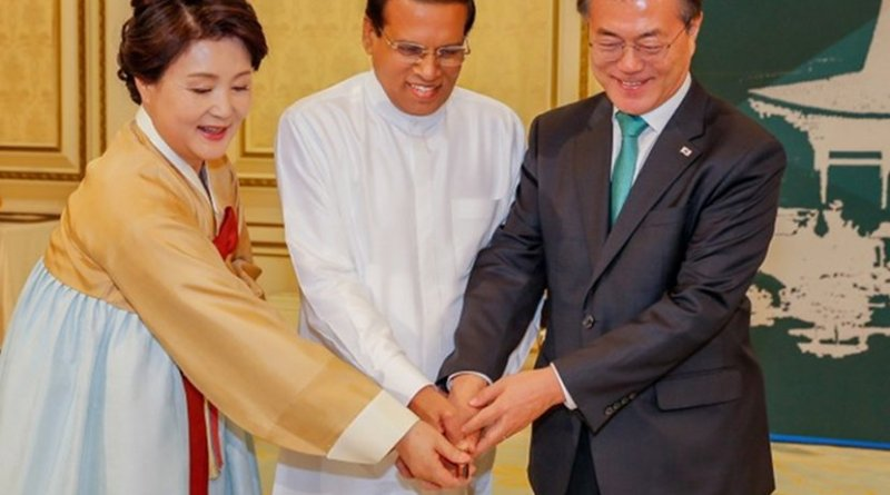 South Korea's President Jae-in Moon and Sri Lanka's President Maithripala Sirisena. Photo Credit: Office of Sri Lanka's Presidency.