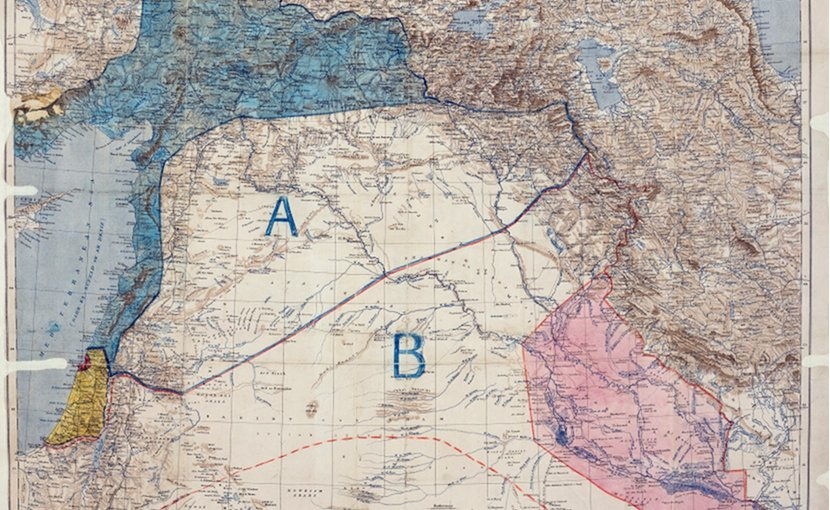"Palestine in the Sykes–Picot Agreement map under ""international administration"", with Haifa Bay, Acre and Haifa as a British enclave, and excluding the area from Hebron south. Source: Royal Geographical Society, Wikipedia Commons."