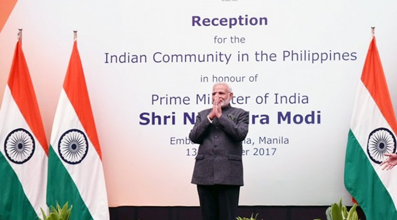 India's Prime Minister Shri Narendra Modi on Monday addressed the Indian community in Manila, Philippines. Photo Credit: India's PM Office.