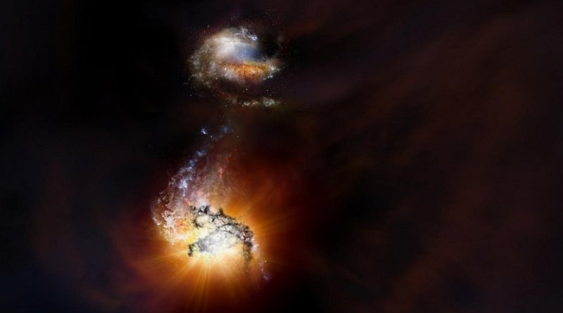 This is an artist impression of two starbursting galaxies beginning to merge in the early universe. Credit NRAO/AUI/NSF