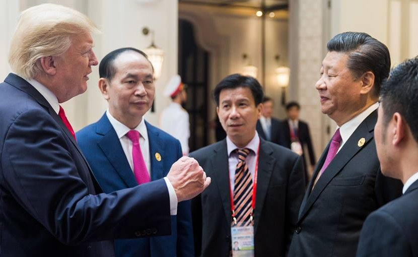 US President Donald Trump with hina's President Xi Jinping. Official White House Photo by D. Myles Cullen.