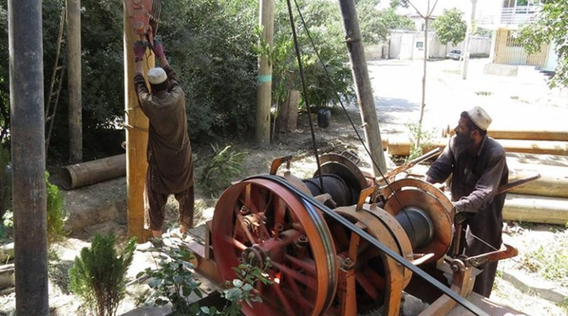 Heavy piling and digging for a new well at the rented house Zekerullah stayed in. Photo by Dr Hakim
