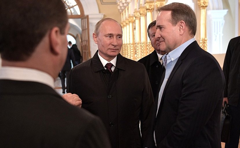 Russia's President Vladimir Putin's visit to the Voskresensky New Jerusalem Monastery with Leader of the Ukrainian Choice – People's Right movement Viktor Medvedchuk (right). Photo Credit: Kremlin.ru