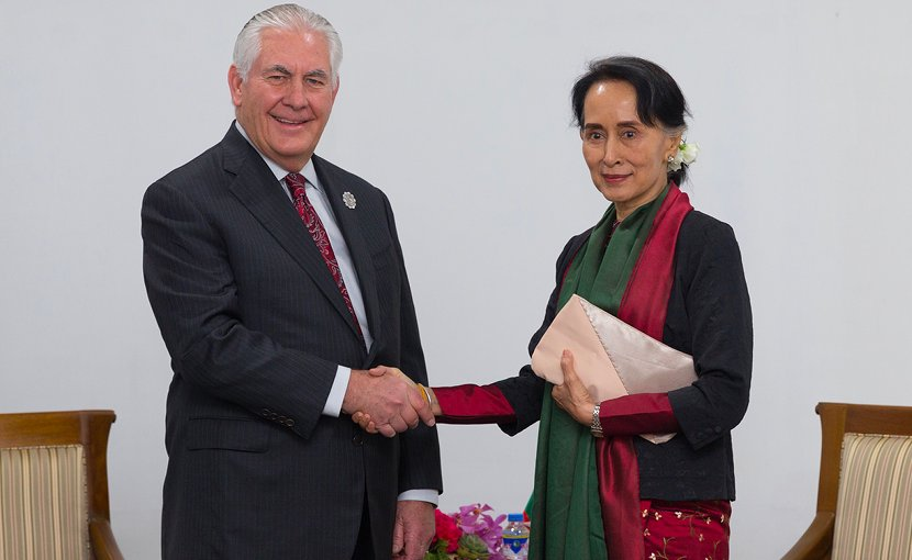 U.S. Secretary of State Rex Tillerson meets with Burma State Counsellor Aung San Suu Kyi on the margins of ASEAN Summit in Manila, Philippines, on November 14, 2017. [State Department photo/ Public Domain]