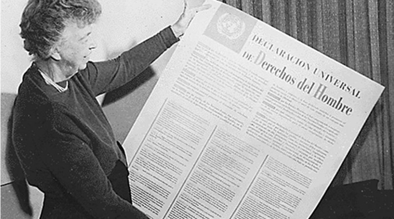 Eleanor Roosevelt and United Nations Universal Declaration of Human Rights in Spanish text. Photo Credit: Franklin D Roosevelt Library website, Wikipedia Commons.