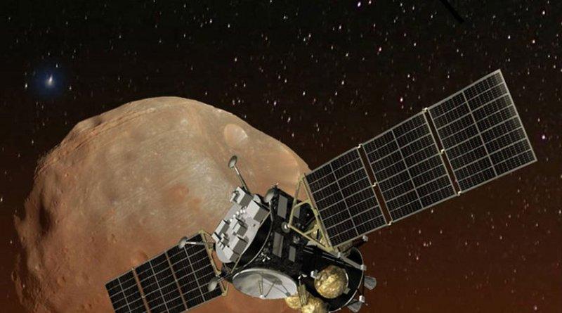 Artist's concept of Japan's Mars Moons eXploration (MMX) spacecraft, carrying a NASA instrument to study the Martian moons Phobos and Deimos. Credits: JAXA/NASA