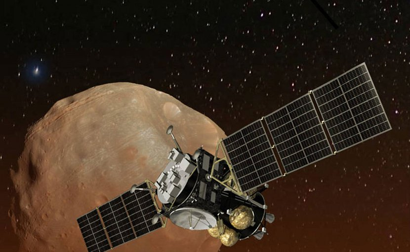 Artist's concept of Japan's Mars Moons eXploration (MMX) spacecraft, carrying a NASA instrument to study the Martian moons Phobos and Deimos. Credits: JAXA/NASA