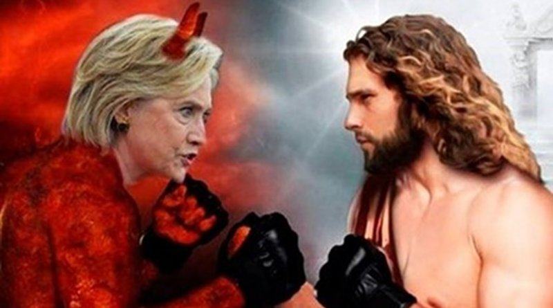 """""""Hillary Clinton versus Jesus"""". Detail of a """"Russia-linked"""" ad."""