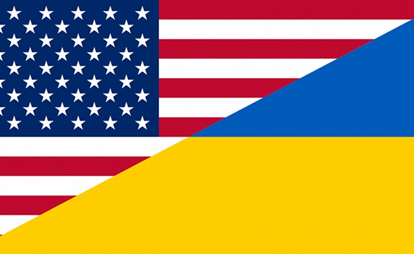 Flags of Ukraine and United States.