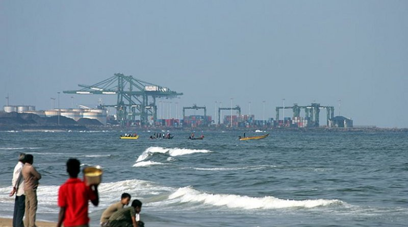 Chennai International Container Terminal (India) view from the Marina Beach. Photo by VtTN, Wikipedia Commons.