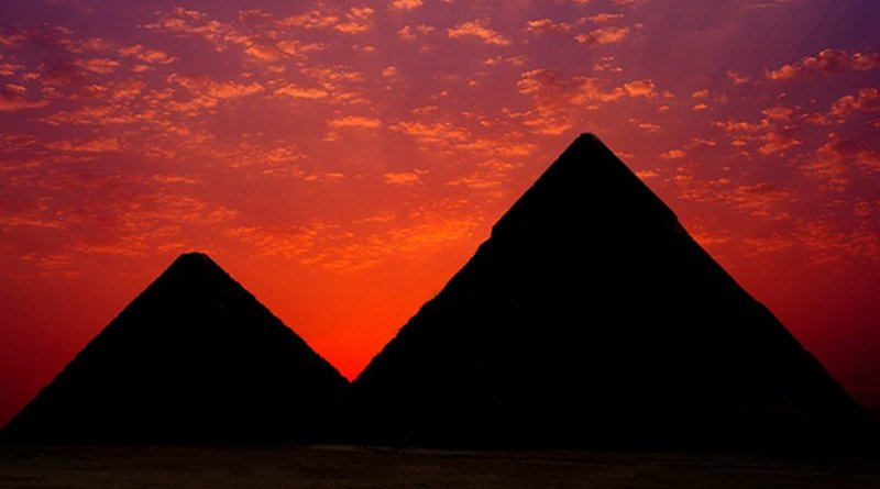 Sunset over the pyramids in Egypt.