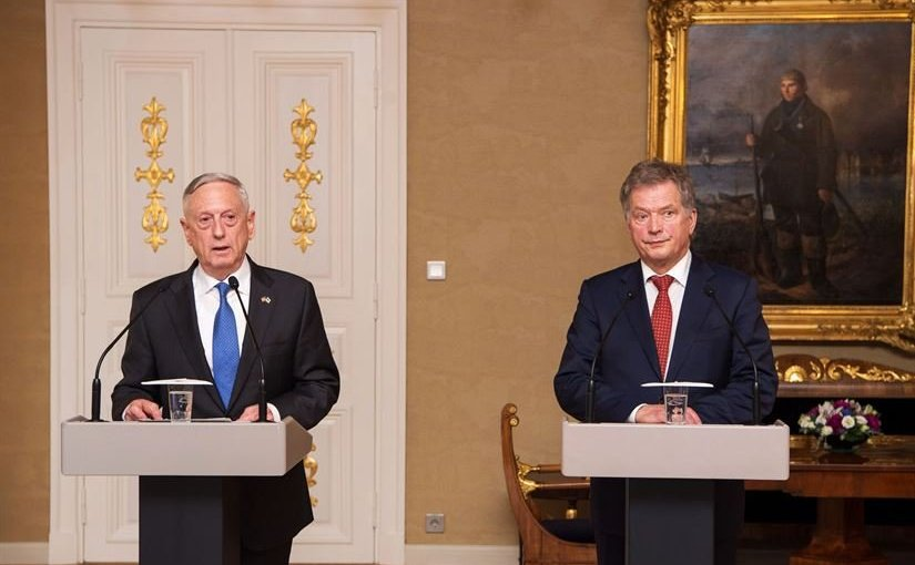 US Defense Secretary Jim Mattis and Finland's President Sauli Niinistö speak to the media at the Presidential Palace in Helsinki, Finland, Nov. 6, 2017. DoD photo by Air Force Staff Sgt. Jette Carr