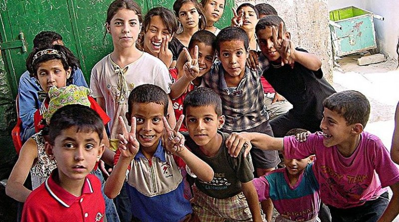 Palestinian children. Photo by Tarek, Wikipedia Commons.
