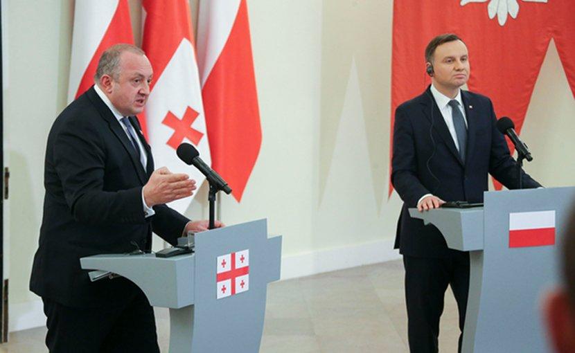 Georgia's Giorgi Margvelashvili and Poland's Andrzej Duda, Warsaw, November 8, 2017. Photo: president.gov.ge