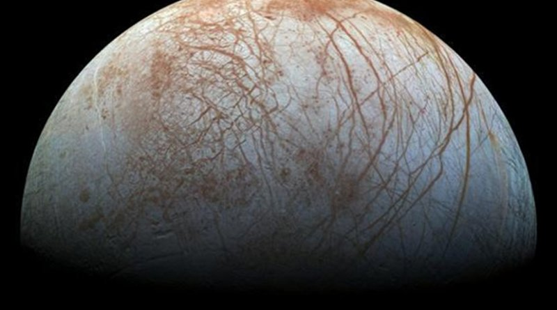 Previous studies had hinted that something like subduction may have been happening on Jupiter's moon, Europa. A new study provides geophysical evidence that it could indeed be happening on the moon's icy shell. Credit NASA/JPL-Caltech/SETI Institute