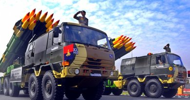 Smerch 300 mm multi-barrel rocket launcher in India military parade. Photo by Hemant.rawat1234, Wikimedia Commons.