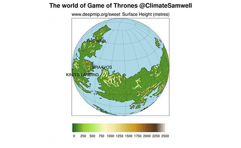 The world of Game of Thrones, showing the positions of the continents over the globe. Light blue represents the ocean, and the colour scale over the continents shows the height of the mountains and hills. This information is needed by the climate model because the surface characteristics such as height and reflectivity have a strong influence on atmospheric winds and temperature. Credit Dan Lunt, University of Bristol