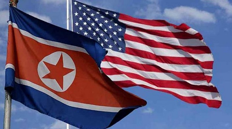 Flags of North Korea and the United States.