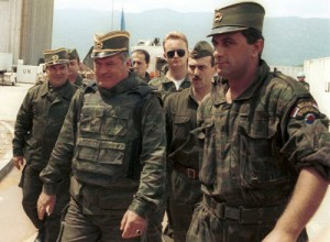 General Ratko Mladic (centre) arrives for UN-mediated talks at Sarajevo airport, June 1993. (Source: Mikhail Evstafiev)