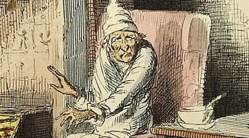 Scrooge, from Charles Dickens: A Christmas Carol. In Prose. Being a Ghost Story of Christmas. With Illustrations by John Leech. London: Chapman & Hall, 1843. First edition.
