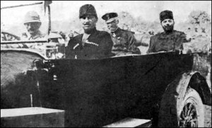In October 1917, Djemal (right) tried again to destroy the Yishuv. But former German chief-of-the-general-staff Erich von Falkenhayn (beside Djemal) arrived in Jerusalem to take command of the Ottoman Yilderim Force, preventing Djemal from carrying out his genocidal plans.