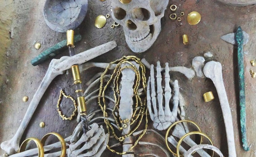 Gold from the richest grave in the cemetery at the 5th millennium site of Varna, Bulgaria. This grave contains c.3kg of gold items decorating the body of the deceased. Varna is considered one of the key archaeological sites in world prehistory. Credit E. Pernicka