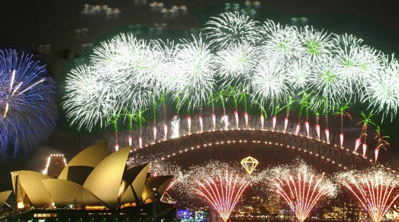 Fireworks at New Year's celebration at Sydney, Australia. Photo by Rob Chandler, Wikipedia Commons.