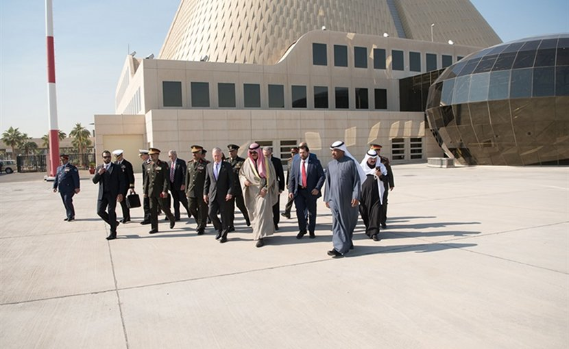 Defense Secretary James N. Mattis walks with Kuwaiti Deputy Prime Minister and Minister of Defense Sheikh Mohammad Khaled Al Hamad Al Sabah following a meeting with the Kuwaiti Emir Sheikh Sabah Al Ahmad Al Sabah in Kuwait City, Kuwait, Dec. 5, 2017. Mattis traveled to Egypt, Jordan, Pakistan and Kuwait to reaffirm the U.S. commitment to partnerships in the Middle East, West Africa and South Asia. DoD photo by Army Sgt. Amber I. Smith