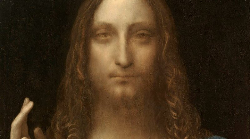 Leonardo da Vinci, Salvator Mundi. The painting was sold at Christie's New York, November 15, 2017, for $450.3 million, making it the most expensive painting ever sold. Source: Wikipedia Commons.