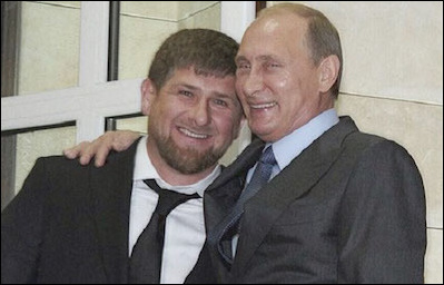 Moscow is itself responsible for the rise of domestic Islamic extremism and continues to encourage it internationally. In April 2007, Moscow installed Ramzan Kadyrov (left), a former mujahid, here with Putin, to pacify Chechnya.