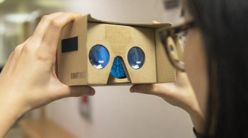 The virtual reality cardboard viewer utilizes a mobile phone application to display stories. Credit Patrick Mansell