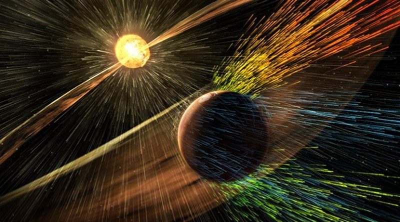An artist's rendition depicts a solar storm hitting Mars and stripping ions from the upper atmosphere. Credit NASA's Goddard Space Flight Center