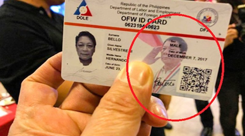 A sample of the new identification card for Filipino migrant workers with the picture of President Rodrigo Duterte. Photo supplied by UCAN