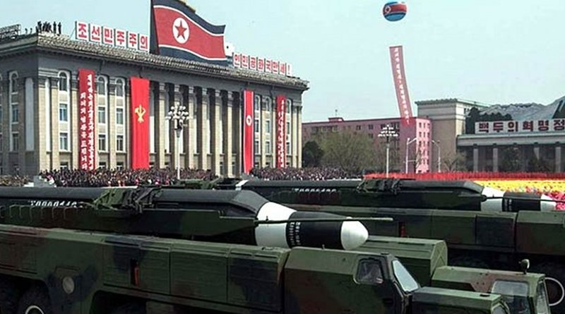 North Korean missiles in military parade.