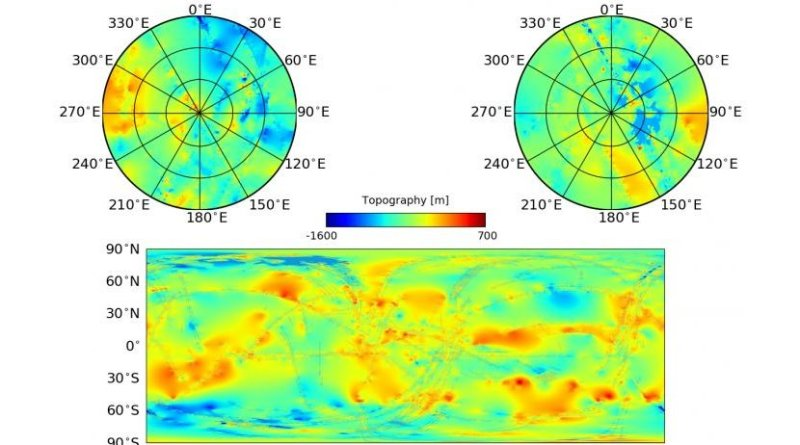 Top: Stereographic polar projections of Titan's topography with the South Pole left and the North Pole right. Bottom: Same as above, but for a global equicylindrical projection. Regions of data used in the interpolation are overplotted in grey. The maximum global relief is on the scale of ~2km, but typical local variations in elevation are more like ~200m - similar to the size of the hills in Ithaca. The topography shows large scale basins, as well as local highs, such as mountains. Understanding Titan's topography can play a role in understanding internal structure, hydrologic processes, and potential influences in Titan's general circulation. Credit NASA/JPL-Caltech/ASI/Cornell