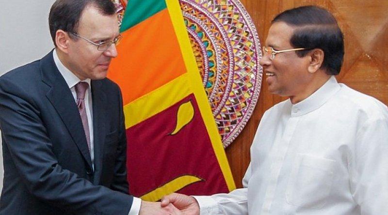 Russia's Deputy Chief Executive Officer of ROSATOM for International Relations Nikolay Spasskiy and Sri Lanka's President Maithripala Sirisena. Photo Credit: Sri Lanka government.