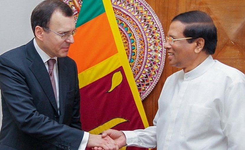Russia's Deputy Chief Executive Officer of ROSATOM for International Relations Nikolay Spasskiy and Sri Lanka's President Maithripala Sirisena. Photo Credit: Sri Lanka government.