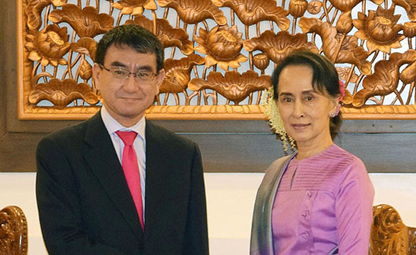 Japan's Minister for Foreign Affairs Taro Kono with Aung San Suu Kyi, State Counsellor and Union Minister for Foreign Affairs of the Republic of the Union of Myanmar. Photo Credit: Ministry for Foreign Affairs of Japan.