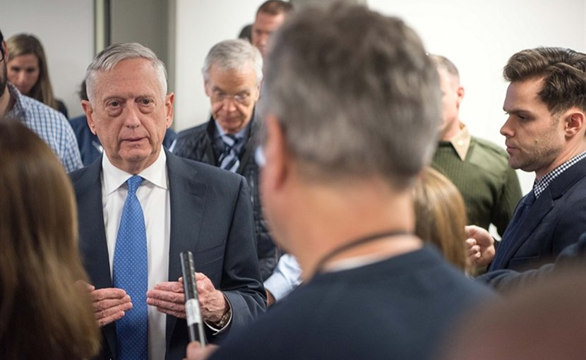 Defense Secretary James N. Mattis speaks with reporters at the Pentagon, Jan. 5, 2018. DoD photo by Army Sgt. Amber I. Smith