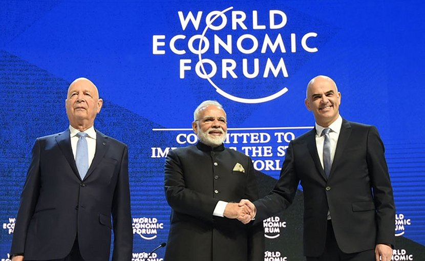 India's Prime Minister, Shri Narendra Modi with the President of the Swiss Confederation, Mr. Alain Berset and the Chairman of the World Economic Forum, Professor Klaus Schwab, at the plenary session of the World Economic Forum, in Davos. Photo Credit: India PM Office.