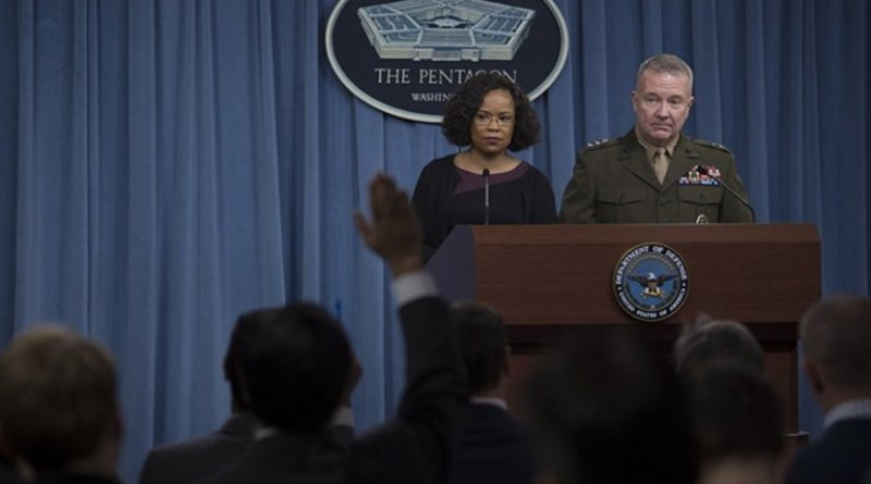 Dana White, chief Pentagon spokesperson, and Marine Corps Lt. Gen. Kenneth F. McKenzie Jr., the Joint Staff director, brief reporters at the Pentagon, Jan. 25, 2018. DoD photo by Navy Petty Officer 1st Class Kathryn E. Holm